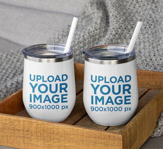 Mockup of Two Wine Tumblers with Straws on a Wooden Tray M252