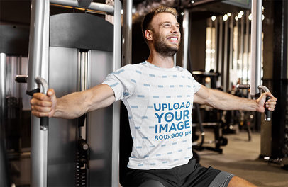 T-Shirt Mockup Featuring a Man Training His Chest at a Gym 45745-r-el2