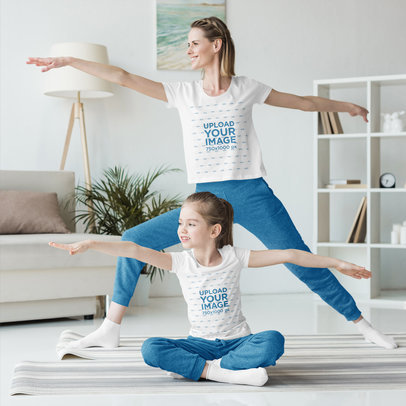 T-Shirt Mockup Featuring a Woman and Her Daughter Doing Yoga at Home 45469-r-el2