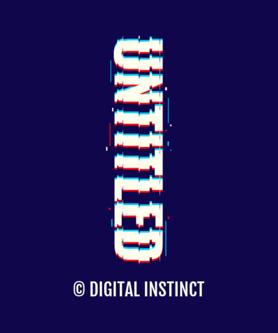 T-Shirt Design Template Featuring a Vertical Text with a Glitch-Style 3272j