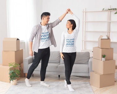 T-Shirt and Long Sleeve Mockup of a Couple Moving In Together 45527-r-el2