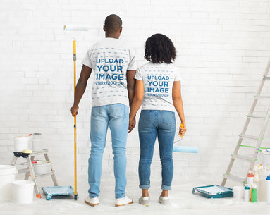 Back View T-Shirt Mockup Featuring a Couple Painting Their House 45522-r-el2