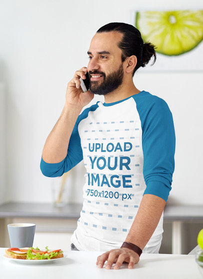 Raglan Tee Mockup Featuring a Bearded Man Talking on the Phone 45954-r-el2