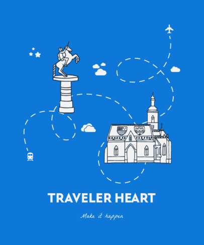Travel-Themed T-Shirt Design Template with Graphics of Landmarks 3333c-el1