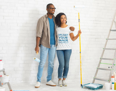 T-Shirt Mockup of a Couple Painting Their Apartment 45523-r-el2