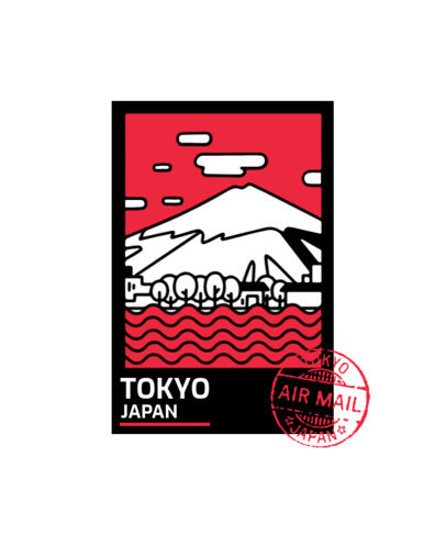 T-Shirt Design Creator Featuring a Cool Postal Stamp from Tokyo 3325c-el1
