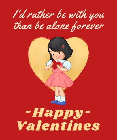 T-Shirt Design Template Featuring a Valentine's Day Theme and a Sarcastic Quote 3263a