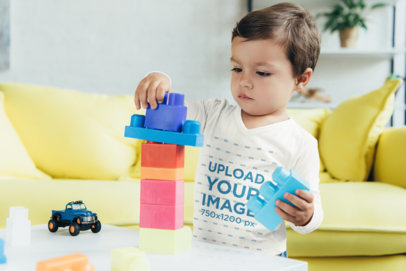 Long Sleeve Tee Mockup of a Little Boy Playing 45742-r-el2