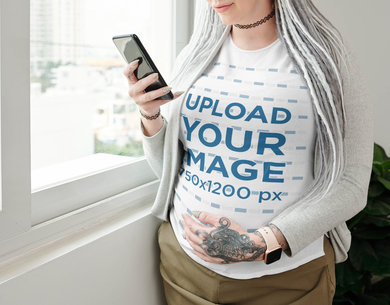 T-Shirt Mockup Featuring a Pregnant Woman with a Tattoo 45713-r-el2