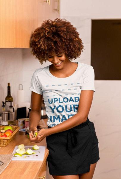 T-Shirt Mockup of a Woman Chopping Fruit 45391-r-el2