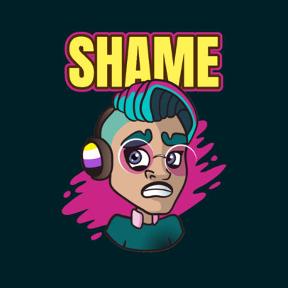 Twitch Emote Logo Creator Featuring a Non-Binary Character with Headphones 3960e