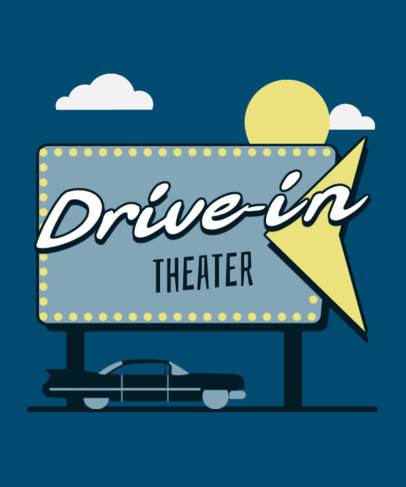 T-Shirt Design Creator with an Illustration of a Retro Drive-In Theater 3271b