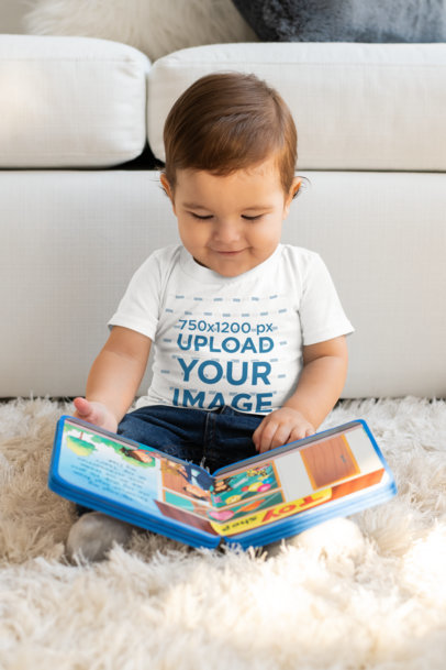 T-Shirt Mockup of a Baby Boy Reading a Book M999