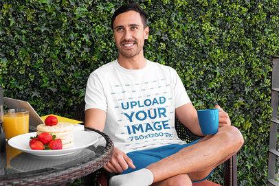 T-Shirt Mockup of a Man in Pajamas Enjoying a Coffee m781
