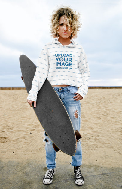 Sublimated Hoodie Mockup of a Curly-Haired Woman Holding a Longboard 45339-r-el2