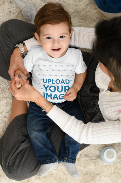 T-Shirt Mockup Featuring a Baby Boy with His Mom m1003
