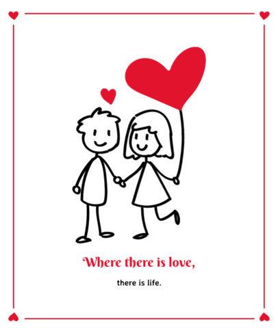 Valentine's T-Shirt Design Template with a Romantic Couple Illustration 3362d-el1
