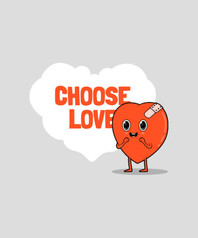 T-Shirt Design Maker Featuring Funny Heart Cartoon Characters 3370-el1