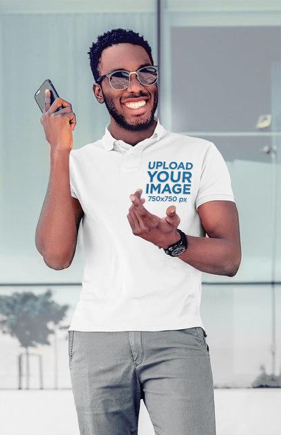 Polo Shirt Mockup Featuring a Joyful Man Talking on the Phone 45338-r-el2