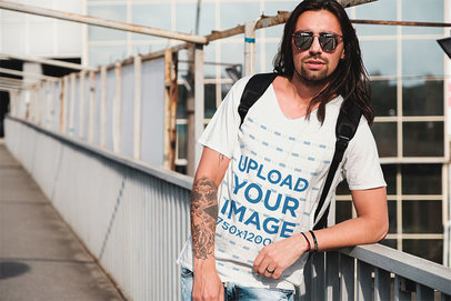 V-Neck Tee Mockup Featuring a Bearded Man With Sunglasses 43130-r-el2