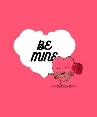 T-Shirt Design Template Featuring a Heart Cartoon with a Rose 3370a-el1