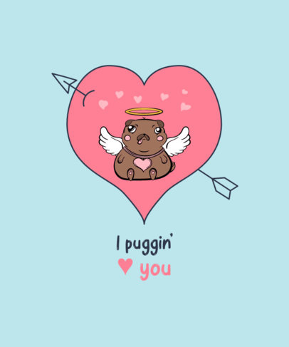 T-Shirt Design Maker Featuring an Illustration of a Pug with Cupid Wings 3372c-el1