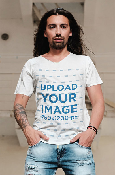 V-Neck T-Shirt Mockup Featuring a Serious Long-Haired Man 43152-r-el2