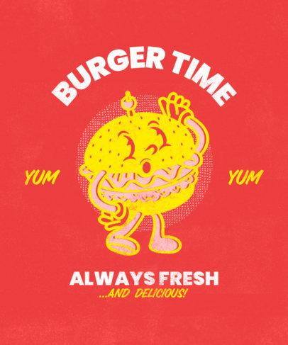 T-Shirt Design Maker Featuring a Retro Burger Cartoon 3290d
