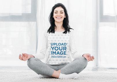 Long Sleeve Tee Mockup of a Happy Woman Meditating 46168-r-el2