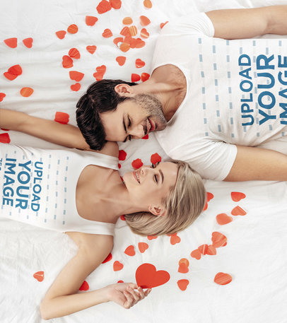 T-Shirt and Tank Top Mockup of a Couple Lying Together 46384-r-el2