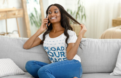 T-Shirt Mockup of a Woman Making a Phone Call on Her Couch 46134-r-el2