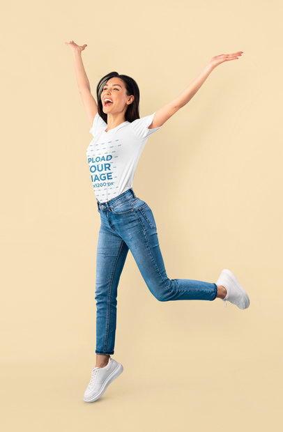 T-Shirt Mockup of a Woman Jumping of Joy 46503-r-el2
