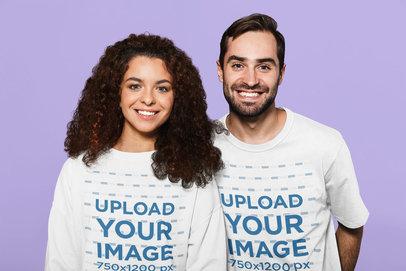 Sweatshirt and T-Shirt Mockup of a Man and a Woman in a Studio 46109-r-el2