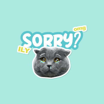 Twitch Emote Logo Template Featuring a Sad Kitten Clipart 3982d