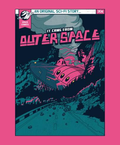 Sci-Fi T-Shirt Design Template Featuring a Crashed UFO 3380e-el1