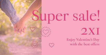 Romantic Facebook Post Maker for a Valentine's Day Super Sale Announcement 3302c