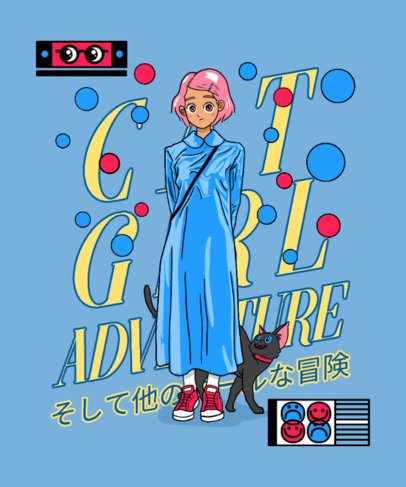Animecore T-Shirt Design Template Featuring a Female Character and a Cat Illustration 3305a
