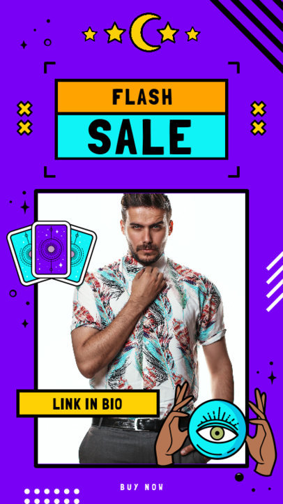 Instagram Story Maker for a Flash Sale Featuring Tarot Graphics 3307c