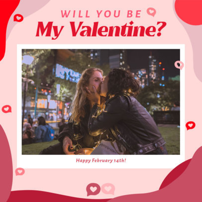 Valentine's Day-Themed Instagram Post Creator Featuring a Couple Kissing 3299d