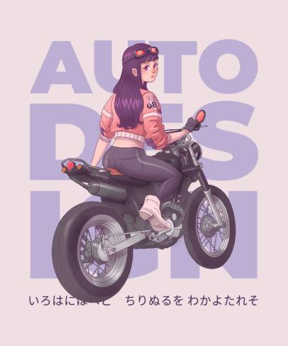 Kawaii T-Shirt Design Template with Illustrations of Anime Girls 3332