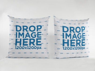 Two Pillows Mockup Standing Against a White Background a15115