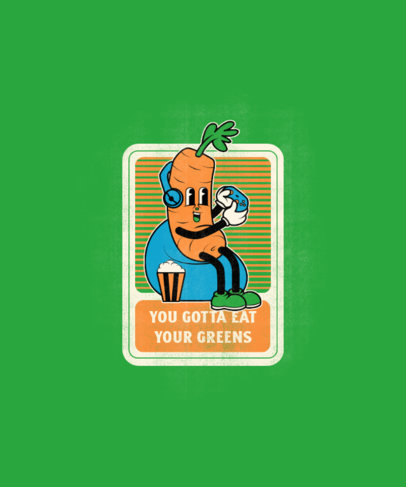 T-Shirt Design Generator Featuring a Cartoon of a Carrot Playing Video Games 3410e