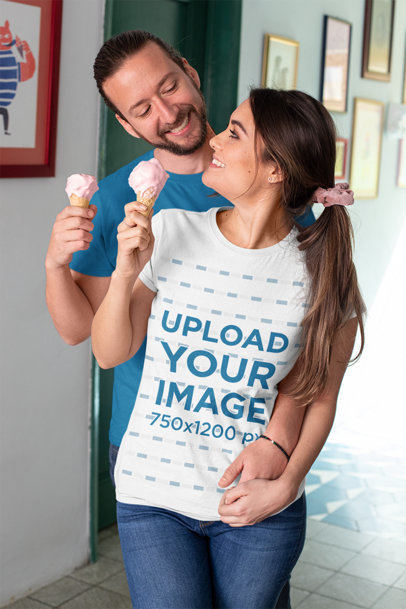 T-Shirt Mockup Featuring a Couple Eating Ice Cream at Home m1118