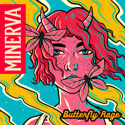 Album Cover Design Template for Alternative Music Featuring a Demon Girl and Butterflies 4006c
