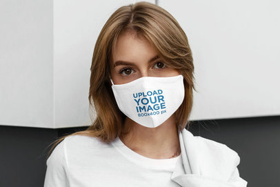 Face Mask Mockup Featuring a Serious Woman Posing 5001-el1