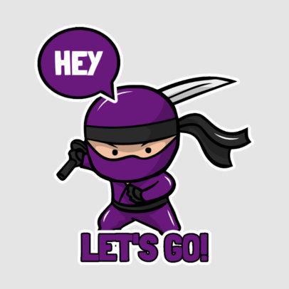Ninja-Themed Sticker Design Template with a Speech Balloon 3444d-el1