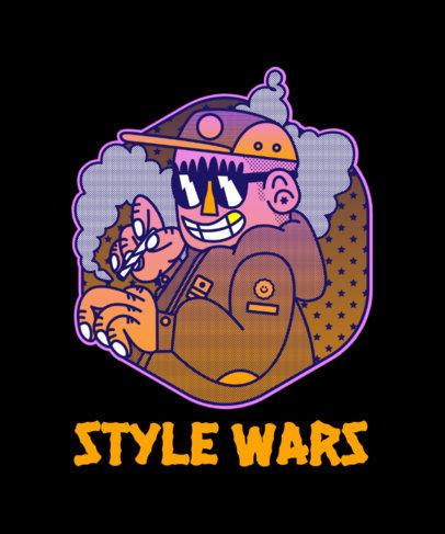 Cartoonish T-Shirt Design Creator with a Smoking Gangster 4005c