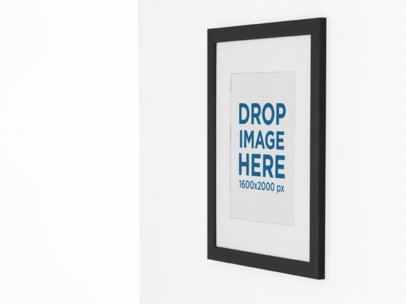 Side Mockup of a Framed Art Print on a Pastel Color Wall a15284