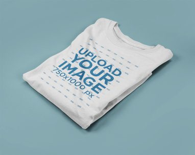 Longsleeved T-Shirt Mockup Lying Folded on a Solid Surface a15251