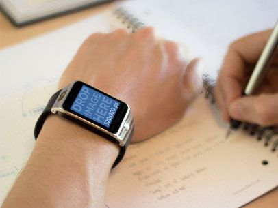 Mockup of a Man Wearing a Samsung Galaxy Gear 2